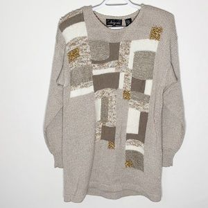 Vintage Angenie mixed media colorblock sweater M
